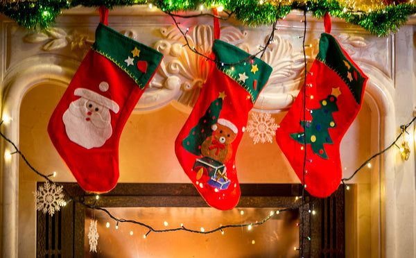 Stocking hung over fireplace mantle