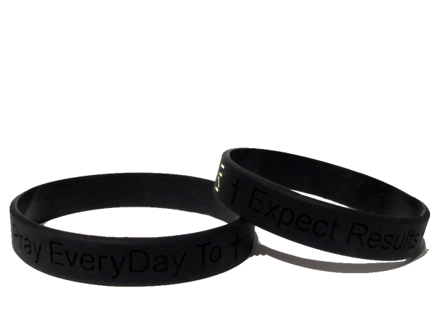 Black Pray EveryDay Signature Wristband (Set of 2)