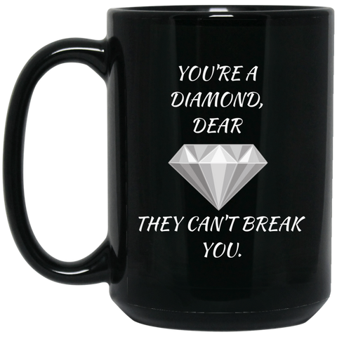 Diamond Dear - 15 oz. Black Mug - Royal Teez Xpress, [poduct_type] - mug, cup, tshirt, hoodie, phone case, tablet case, coaster, apron