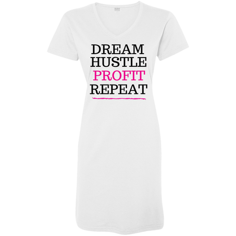 DREAM HUSTLE PROFIT - PINK - Ladies' V-Neck Fine Jersey T-Shirt Dress - Royal Teez Xpress, [poduct_type] - mug, cup, tshirt, hoodie, phone case, tablet case, coaster, apron
