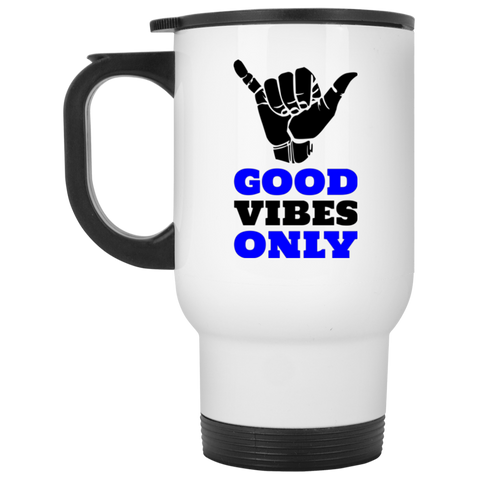Good Vibes - White Travel Mug - Royal Teez Xpress, [poduct_type] - mug, cup, tshirt, hoodie, phone case, tablet case, coaster, apron