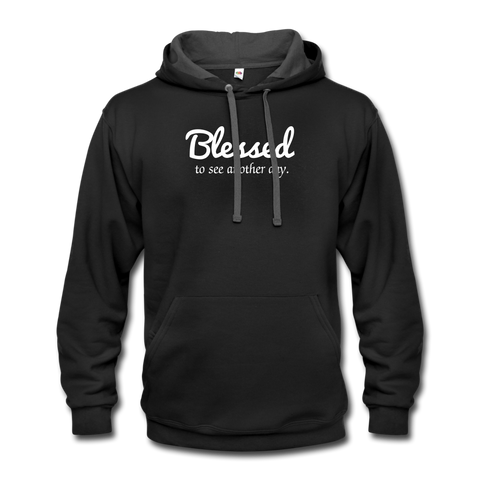 Blessed to see another day cheap black unisex hoodie by Funslay and Jessica ogunnorin