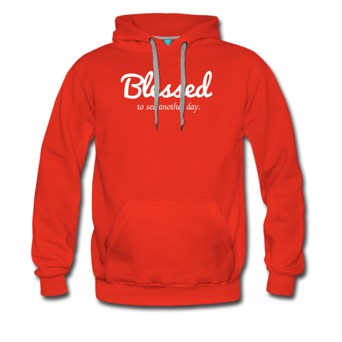 Blessed to see another day cheap red unisex hoodie by Funslay and Jessica ogunnorin