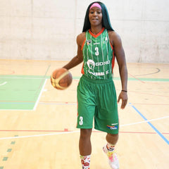 Jessica Ogunnorin the CEO of LEV8 Apparel poses for Ibaizabal basketball team