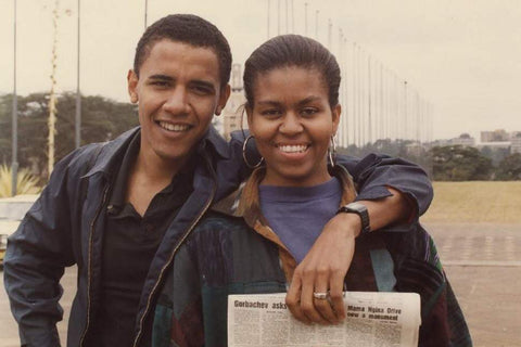 Barrack Obama and Michelle Obama posing in  a feature story written by basketball player Jessica Ogunnorin and featuring Alison Bragaw Butler