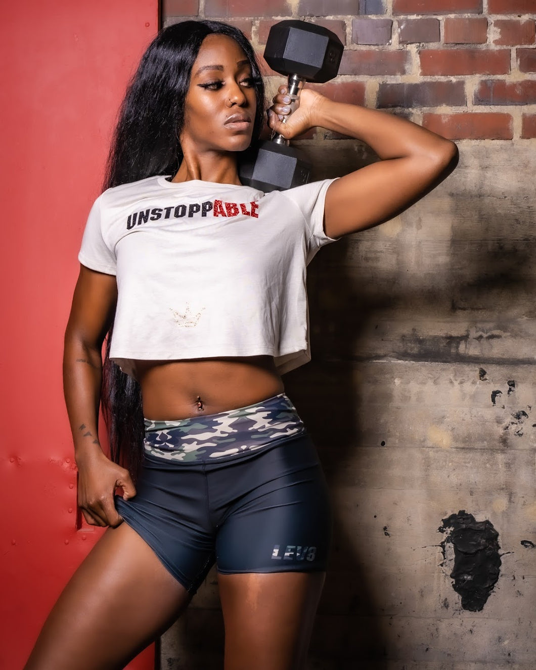 Unstoppable Black N Red Women's Cropped T-Shirt