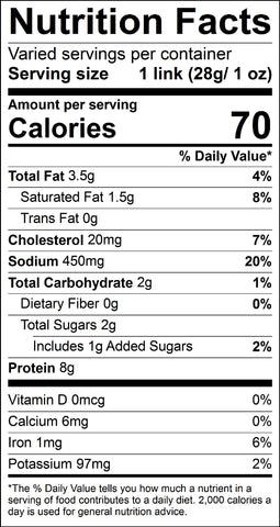 Nutritional Facts Beef Snack Sticks – On The Hoof Jerky