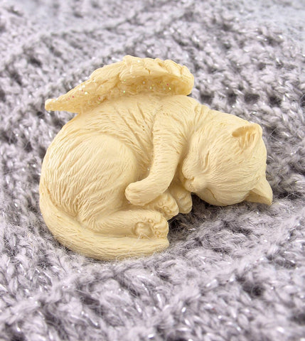 Small Sleeping Kitty Cat Figurine with Wings | The Kindness of Angels