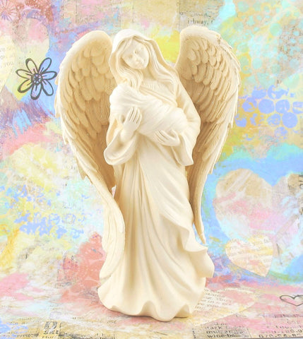 Adoring Embrace Guardian Angel & Baby Figurine available from The Kindness Of Angels