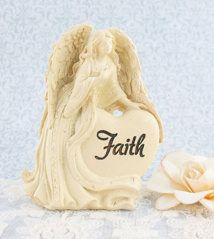 Angel of Faith Figurine with Heart | The Kindness of Angels