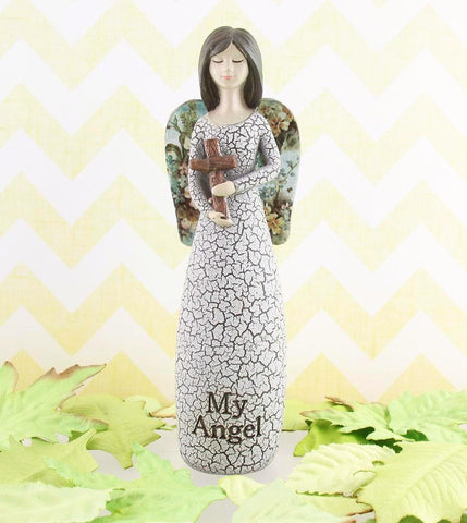"Angel Figurine Holding Cross Inscribed ""My Angel, The One Who's Always By My Side"" available from The Kindness of Angels"