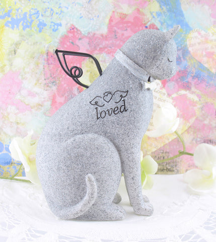 "Faithful Angel Cat Memorial Figurine With Wire Wings and Fish Collar Inscribed ""Loved""available from The Kindness of Angels"