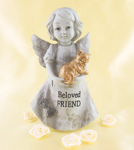 "Little Girl Angel Holding Golden Kitty Cat Inscribed ""Beloved Friend"" Available from The Kindness of Angels"