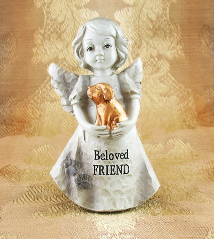 "Little Girl Angel Holding Golden Puppy Inscribed ""Beloved Friend"" Figurine available from The Kindness of Angels"