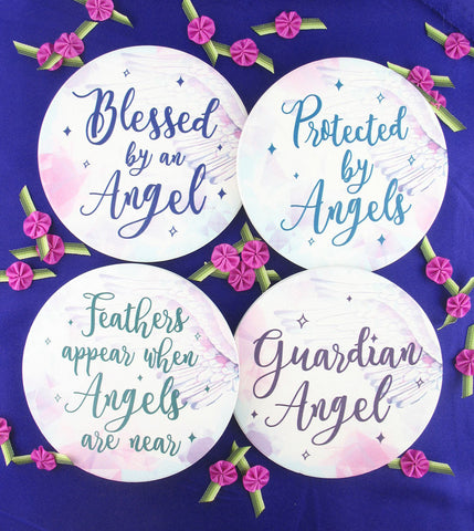 Guardian Angel Calligraphy Coasters - Set of 4-Home Decor > Coasters