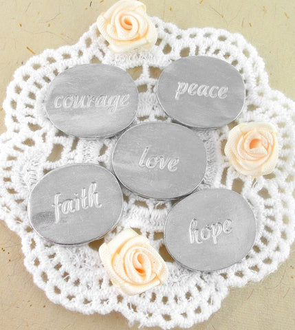 Hope, Courage, Love, Peace and Faith Angel Tokens Set |The Kindness of Angels