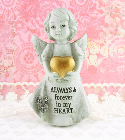 "Little Girl Angel Holding Golden Heart Inscribed ""Always & Forever In My Heart"" Memorial Figurine available from The Kindness of Angels"