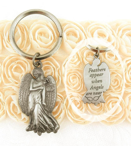 """When Feathers Appear"" Pewter Keychain 