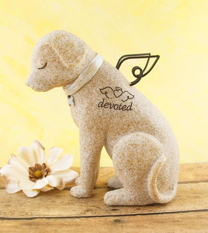 "Angel Dog Memorial Figurine With Wire Wings and Dog Bone Collar Inscribed ""Devoted"" available from The Kindness of Angels"