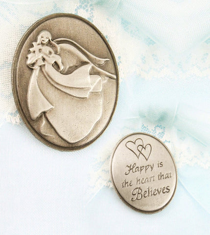 """Happy-is-the-Heart-That-Believes""-Collectible-Angel-Token-cross-available-from-The-Kindness-Of-Angels"
