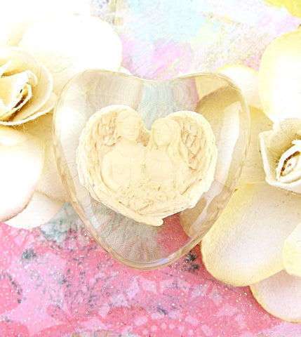 Guardian Angel Clear Heart-Shaped Love Stone | The Kindness of Angels