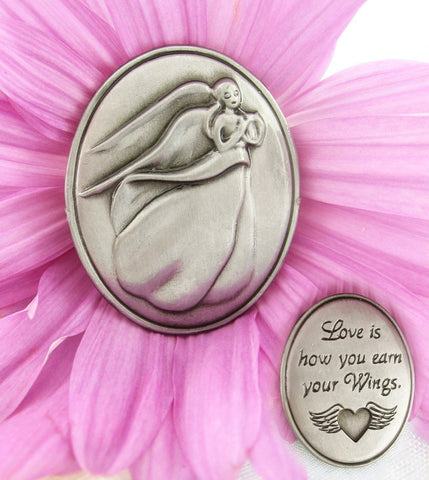 """Love Is How You Earn Your Wings"" - Winged Heart Collectible Angel Token""Happy-is-the-Heart-That-Believes""-Collectible-Angel-Token available from The Kindness Of Angels"