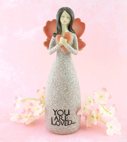 "Angel Figurine Hugging Red Heart Inscribed ""You Are Loved"" with Decorative Wings available from The Kindness of Angels"