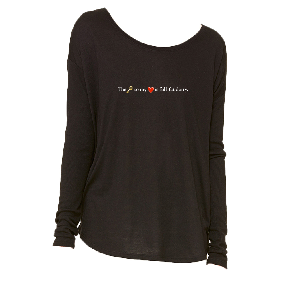 The Key To My Heart Long Sleeve T-Shirt in Black - Foodie Fatale