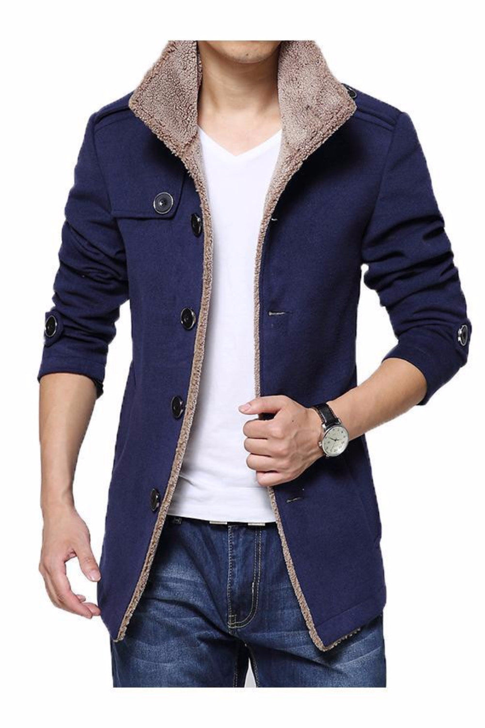 2015 New Arrival Trench Coat Men Casual Slim Fit Jacket Autumn Winter Fur Collar Windbreaker Jackets and Coats Men Plus Size 4XL