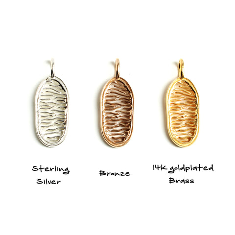 mitochondrion pendant in silver bronze and 14K goldplated brass