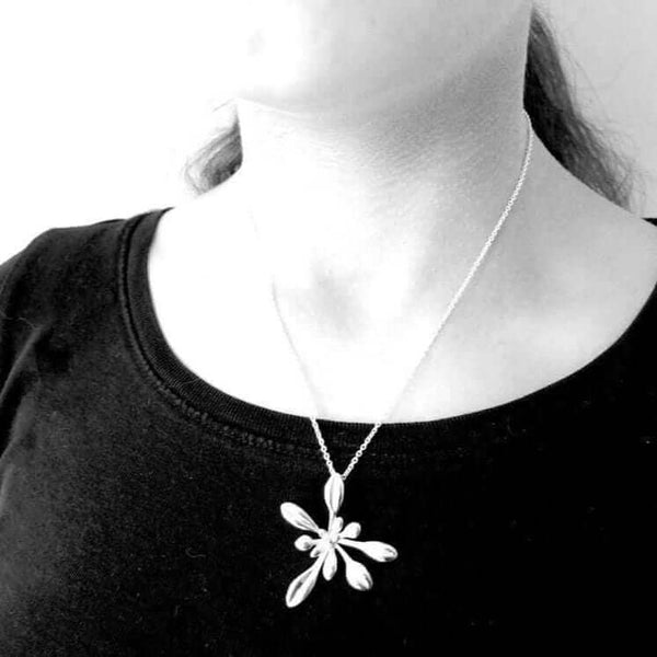 Science Jewelry: Large Arabidopsis pendant in silver