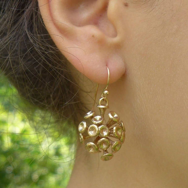 Science jewelry: Discosphaera Coccolithophore earrings in bronze