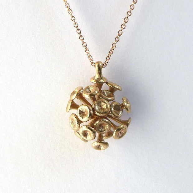 Science Jewelry: Discosphaera Coccolithophore pendant in bronze