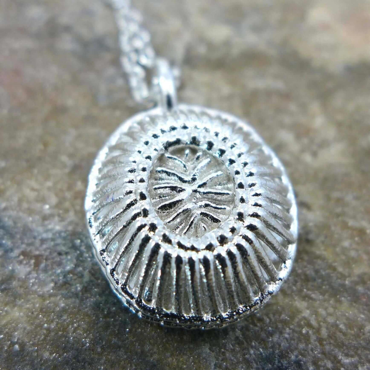 Emiliana huxleyi coccolithophore pendant in unpolished silver