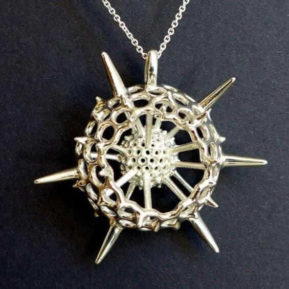 large spumellaria radiolarian pendant in polished silver