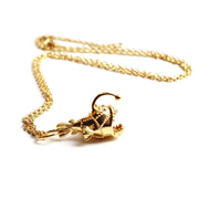 anglerfish necklace 14K gold plated brass