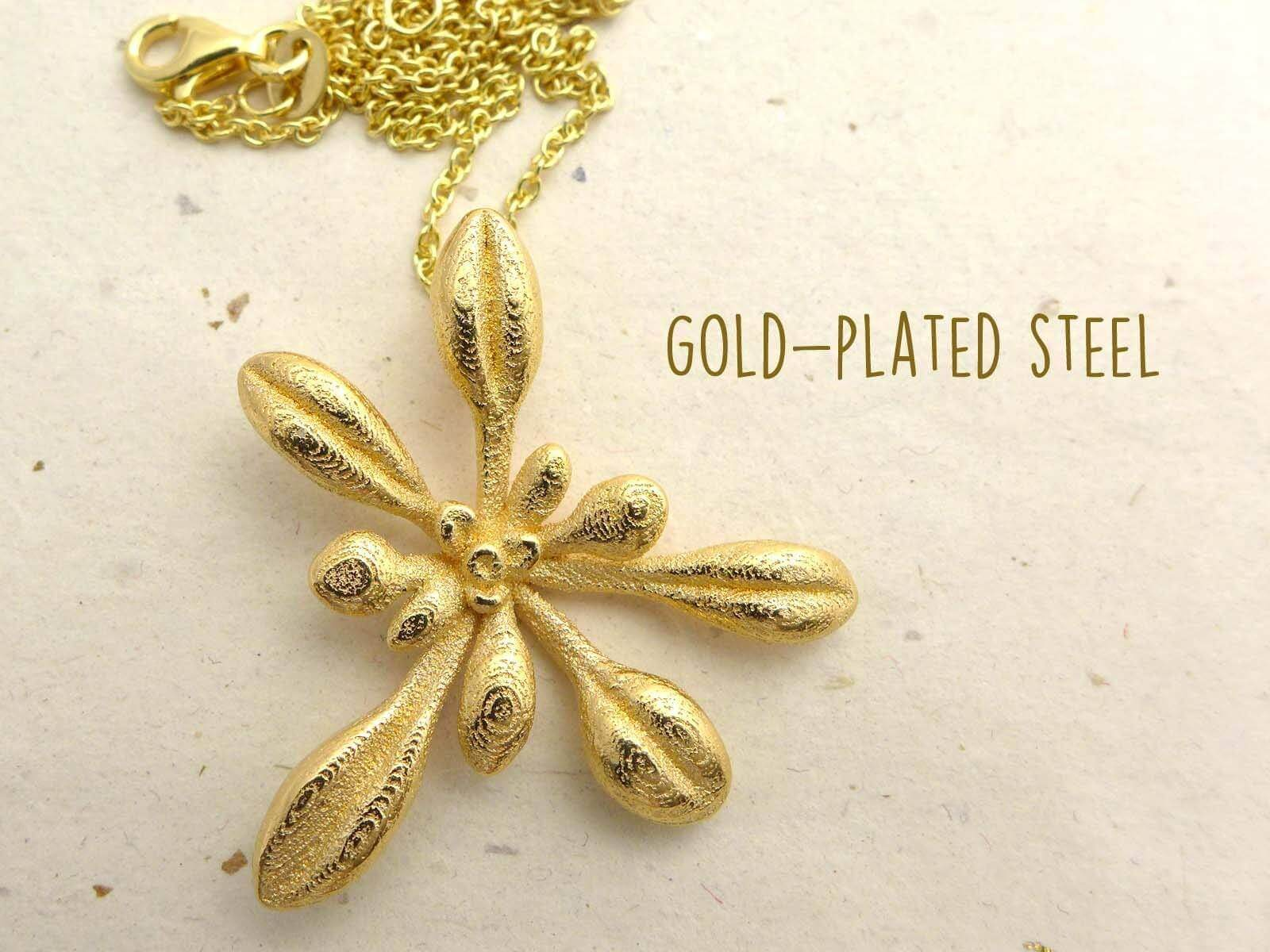 Arabidopsis Rosette Pendant, large Pendant [Ontogenie Science Jewelry] gold-plated steel 40 cm/16 in