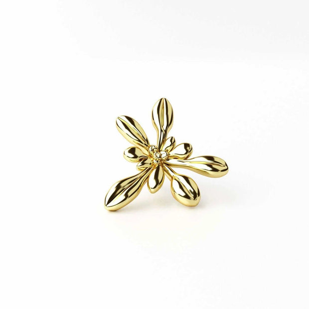 Arabidopsis thaliana Lapel Pin [Ontogenie Science Jewelry] 14K gold plated brass