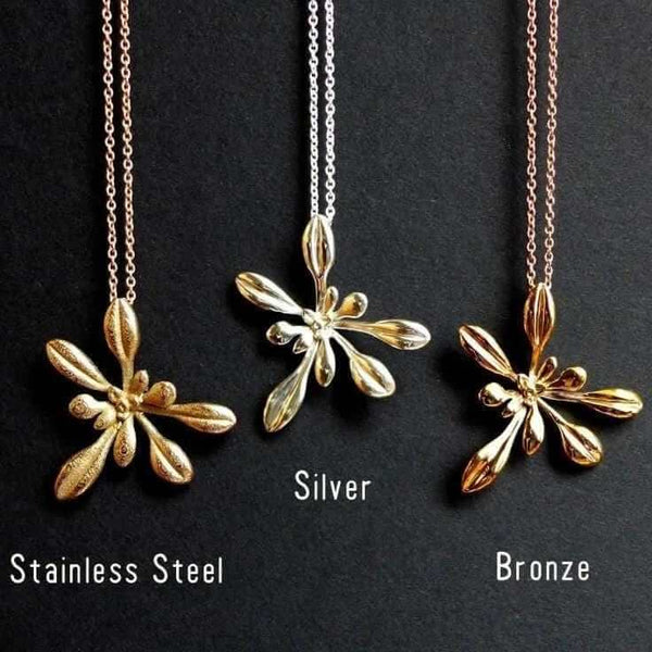 Large Arabidopsis pendants in steel, silver and bronze