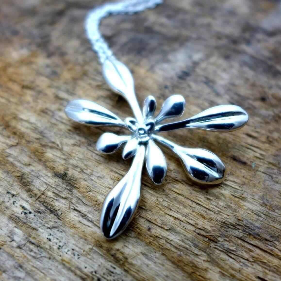 Arabidopsis Rosette  large Pendant [Ontogenie Science Jewelry] sterling silver 40 cm/16 in