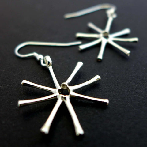 Asterionella Diatom Earrings Earrings [Ontogenie Science Jewelry] sterling silver