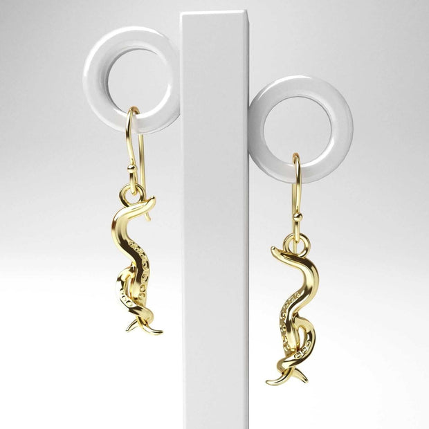 C. elegans Nematode Earrings 14K goldplated brass Ontogenie Science Jewelry