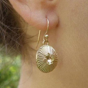 Bronze coccolithus coccolithophore earrings