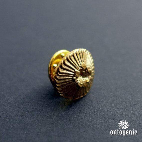 Science jewelry: coccolithophore lapel pin in bronze