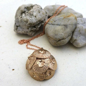 Coccolithus coccolithophore pendant in bronze - science jewelry