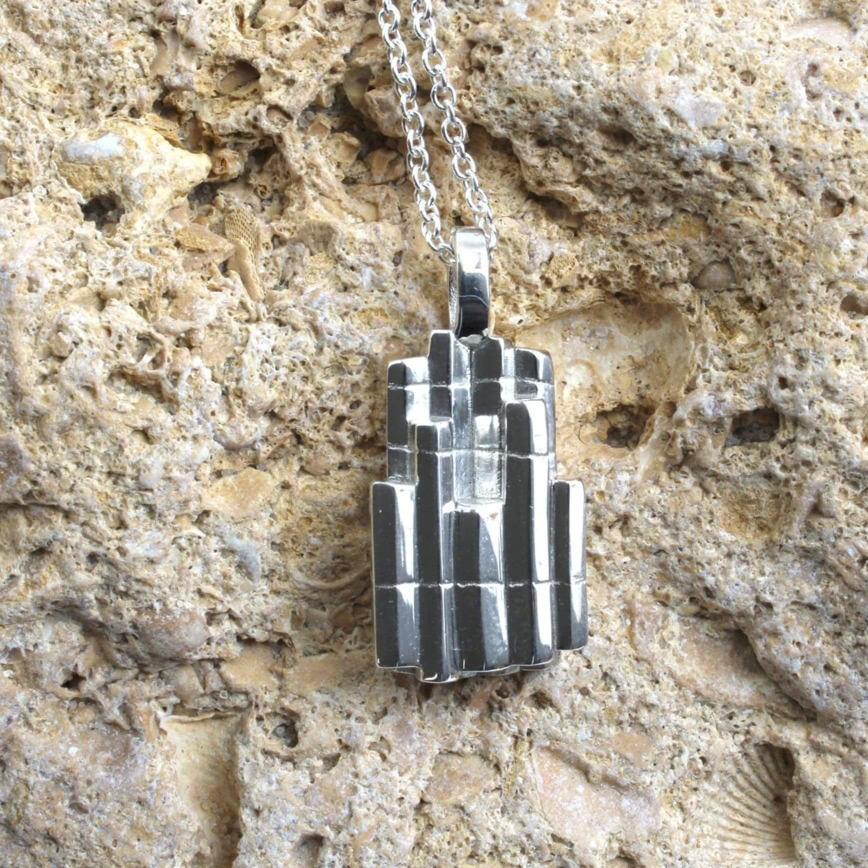 Columnar Basalt Pendant in polished silver