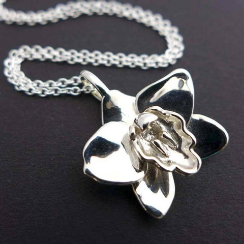 Science Jewelry: Cymbidium Orchid Pendant in silver