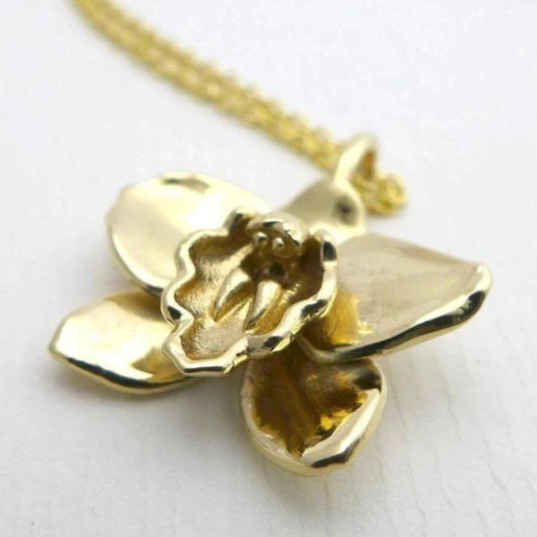 Science Jewelry: Cymbidium Orchid Pendant in brass