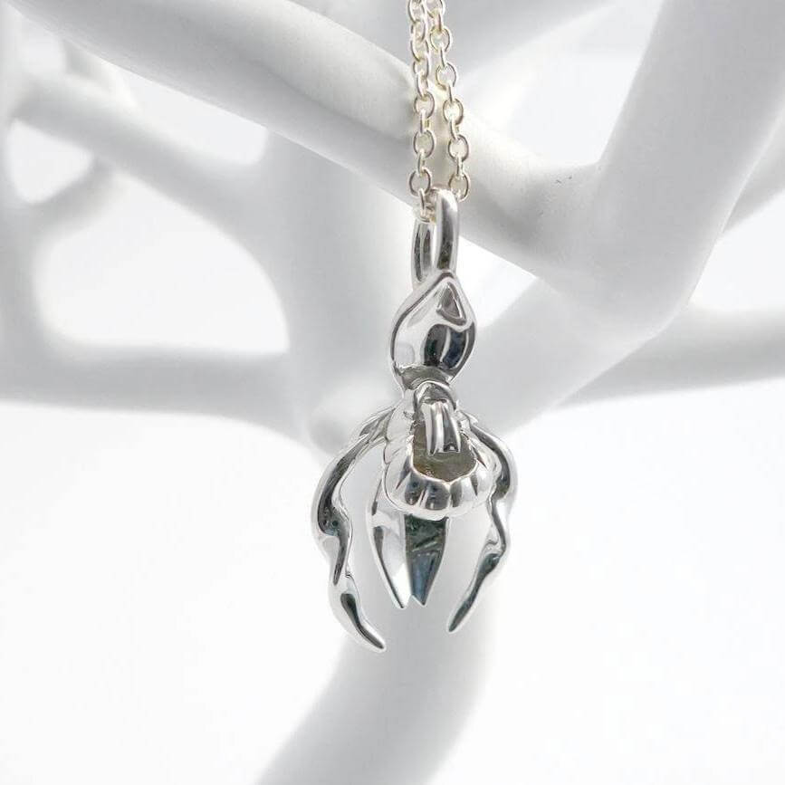 Ladys slipper orchid pendant botany jewelry ontogenie science jewelry ladys slipper pendant in silver aloadofball Image collections