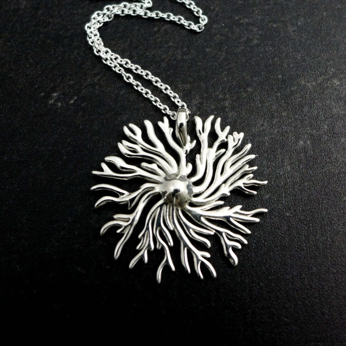 Dictyostelium Slime Mold Pendant Sterling Silver